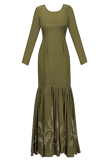 Olive Green and Gold Floral Embroidered Tiered Gown with Waistbelt by Priya Agarwal