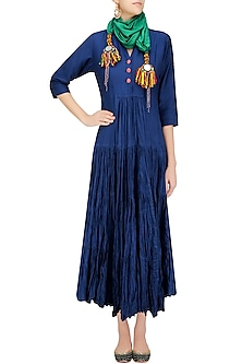 Indigo Peated Crushed Anarkali Kurta with Green Big Latkans Scarf by Priya Agarwal