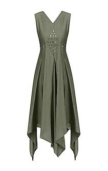 Khaki Green Mirror Work Asymmetric Dress by Priya Agarwal