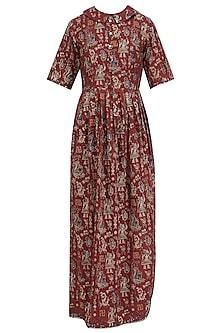 Brown Printed Pleated Maxi Dress by Priya Agarwal