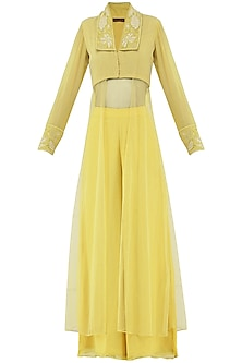 Pastel Yellow Embroidered Kurta with Palazzo Pants by Priya Agarwal