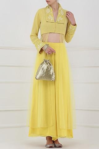Pastel Yellow Embroidered Kurta with Palazzo Pants by Priya Agarwal