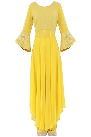 Pastel Yellow Embroidered High-Low Kurta with Pants by Priya Agarwal