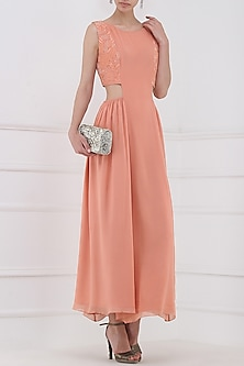 Pastel Peach Embroidered Maxi Dress by Priya Agarwal