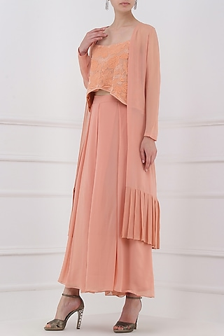 Pastel Peach Embroidered Crop Top with Jacket and Palazzos Set by Priya Agarwal