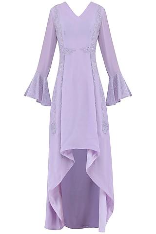 Pastel Purple Embroidered Dress by Priya Agarwal