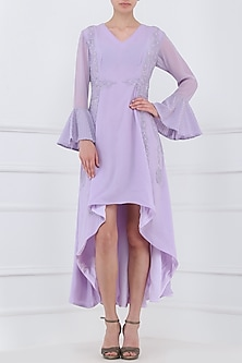 Pastel Purple Embroidered Dress by Priya Agarwal