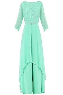 Mint Green Embroidered High Low Kurta with Palazzo Pants by Priya Agarwal