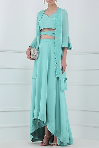 Aqua Blue Embroidered Jacket with Blouse and Skirt Set by Priya Agarwal