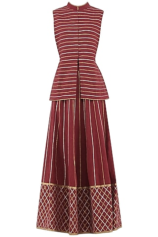 Maroon Gota Patti Embroidered Jacket and Skirt Set by Priya Agarwal