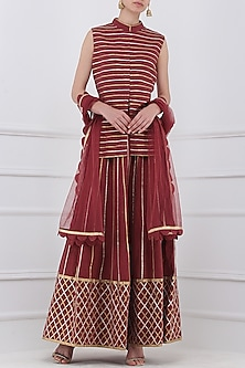 Maroon Gota Patti Embroidered Jacket and Skirt Set by Priya Agarwal