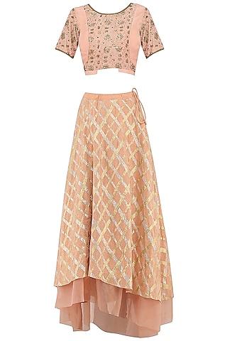 Peach Gota Patti Embroidered Lehenga Skirt Set by Priya Agarwal