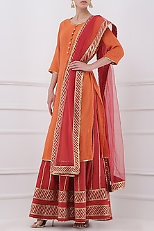 Red Gota Patti Embroidered Lehenga and Orange Kurta Set by Priya Agarwal