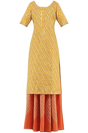 Orange Gota Patti Embroidered Lehenga and Mustard Kurta Set by Priya Agarwal
