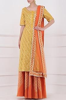 Orange Gota Patti Embroidered Lehenga and Mustard Kurta Set by Priya Agarwal
