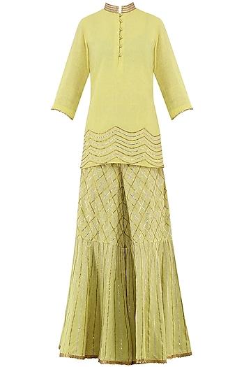 Lime Yellow Gota Patti Embroidered Tunic with Sharara Pants by Priya Agarwal