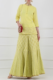 Lime Yellow Gota Patti Embroidered Tunic with Sharara Pants by Priya Agarwal