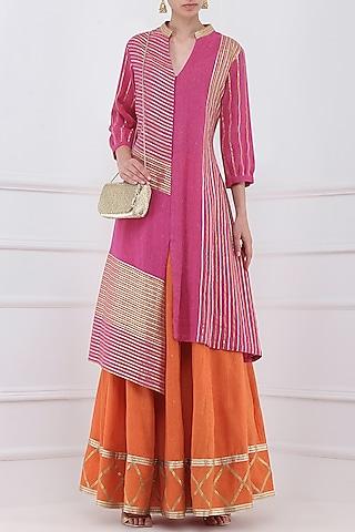 Orange Gota Patti Embroidered Lehenga and Magenta Kurta Set by Priya Agarwal