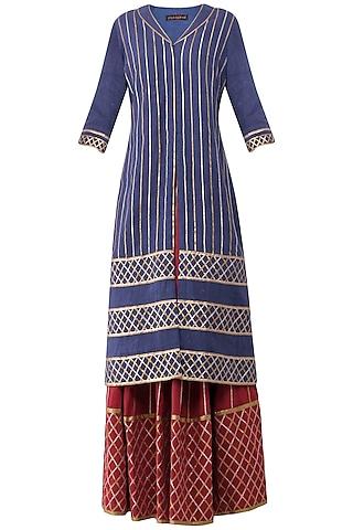 Maroon Gota Patti Embroidered Lehenga and Blue Kurta Set by Priya Agarwal