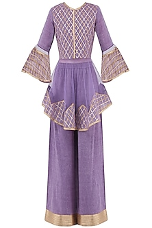 Purple Gota Patti Embroidered Peplum Top with Palazzo Pants by Priya Agarwal