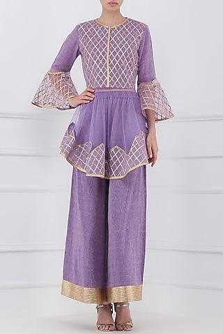Purple Gota Patti Embroidered Peplum Top with Palazzo Pants by Priya Agarwal