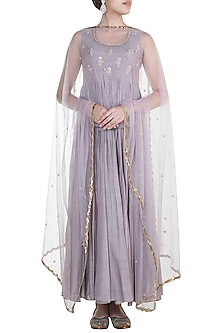 Lilac Embroidered Sleeveless Anarkali Gown With Dupatta by Paulmi & Harsh