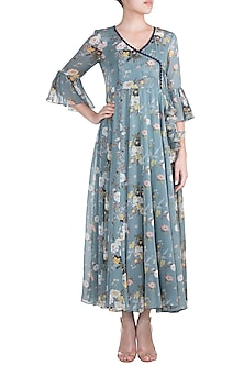 Blue Printed Flared Maxi Dress by Paulmi & Harsh