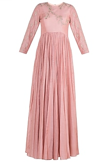 Soft Rose Pink Anarkali Gown With Dupatta by Paulmi & Harsh