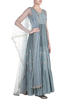 Powder Blue Embroidered Anarkali Gown With Dupatta by Paulmi & Harsh-Shop By Style