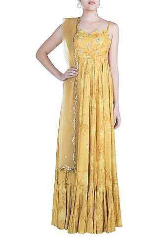 Mustard Embroidered Printed Anarkali Gown With Dupatta by Paulmi & Harsh