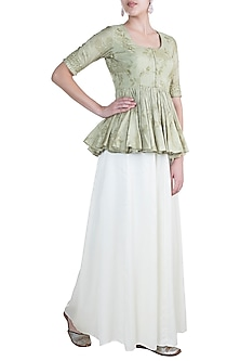 Olive Green Embroidered Peplum Top With Palazzo Pants by Paulmi & Harsh