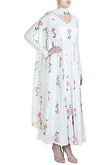 Off White Printed Sequins Anarkali With Dupatta by Paulmi & Harsh