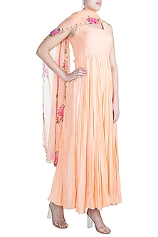 Peach Embroidered Flared Anarkali Gown With Dupatta by Paulmi & Harsh