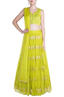 Lime Green Embroidered Butta Lehenga Set by Paulmi & Harsh
