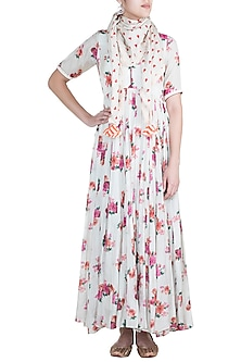 Off White Chint Printed Anarkali Gown With Scarf by Paulmi & Harsh