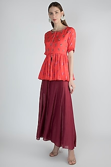 Red Printed Peplum Top With Magenta Palazzo Pants by Paulmi & Harsh
