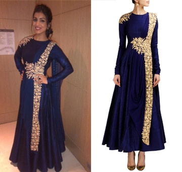 Navy blue anarkali with gold embroidery by Ridhi Mehra