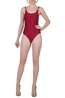 Red deep back one piece swimsuit by PA.NI Swimwear