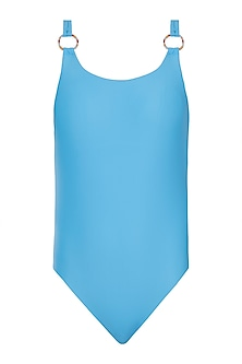 Blue deep back one piece swimsuit by PA.NI Swimwear