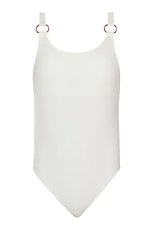 White deep back one piece swimsuit by PA.NI Swimwear