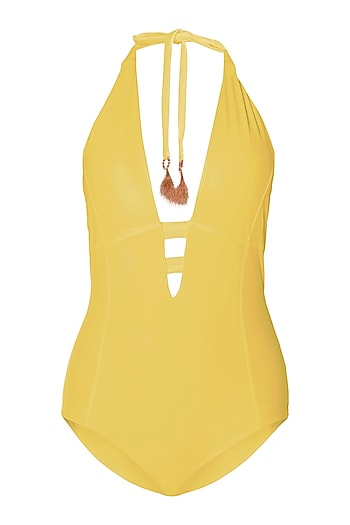 Yellow halter one piece by PA.NI Swimwear