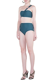 Green high-waisted bikini bottom by PA.NI Swimwear