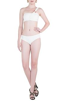 White bandeau bikini top by PA.NI Swimwear