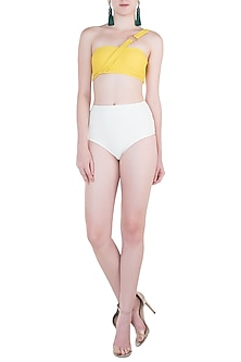 White high-waisted bikini bottom by PA.NI Swimwear