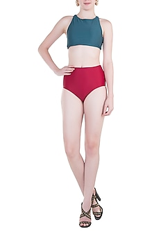Red high-waisted bikini bottom by PA.NI Swimwear