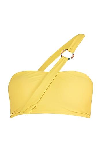 Yellow bandeau bikini top by PA.NI Swimwear