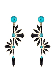 Gold Finish Enameled Turquoise Stone Earrings by Paroma Popat