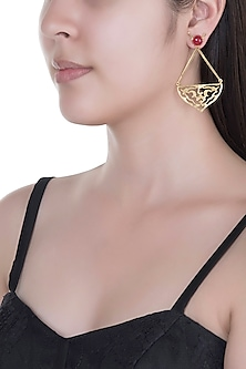 Gold Finish Jaali Worked Red Agate Earrings by Paroma Popat
