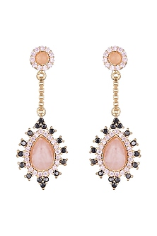 Gold Finish Cubic Zirconia & Rose Quartz Earrings by Paroma Popat