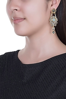 Gold Finish Enameled Gunmetal & Glass Stone Earrings by Paroma Popat